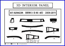 3D Carbon Fiber Interior Dashboard Trim Dash Panels Kit for RHD BMW 3 E-90 2005