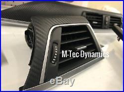 BMW F30 F80 M3 Black 3D Carbon Fibre Silver Interior Trim Dash Console Set Auto
