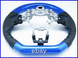 Blue Carbon Fiber Leather Steering Wheel for 2015-2020 SUBARU WRX STI