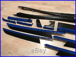Bmw X5 E70 Black Carbon & Blue Fiber Wrapped Interior Trim Set