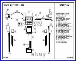 Carbon Fiber Dash Trim Kit Set for BMW Z3 1996-1999 interior overlay dashboard