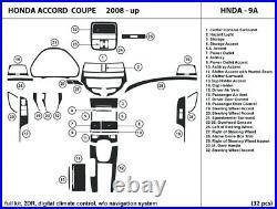 Carbon Fiber Dash Trim Kit for Honda Accord Coupe 08-12 with digital A/C, no navig