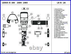 Carbon Fiber Dash Trim Kit for Lexus IS300 2004-2005 without navigation Interior