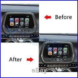 Carbon Fiber Screen Navigation Control Panel Trim Decal For Chevy Camaro 2016-up
