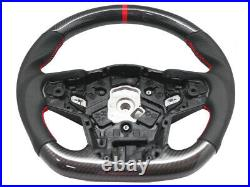 Carbon Steering Wheel for 2020-Up Toyota Supra Leather Red Stitching+Red Stripe