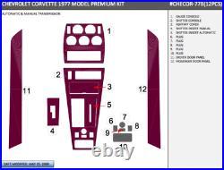 Chevy Corvette C3 Fit 1977 Auto Interior Set Carbon Fiber Dash Trim Kit 12 Pcs