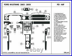 Dash Trim Kit for Ford Mustang 2005-2009 Manual Shifter Convertible Carbon Fiber