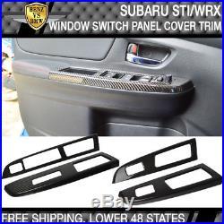 Fits 15 18 Subaru WRX STI Window Switch Panel Cover Trim 4PC Carbon Fiber CF