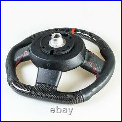 Flat Bottom Carbon Leather Red Steering Wheel For Mini R55 R56 R57 R58 R60 R61