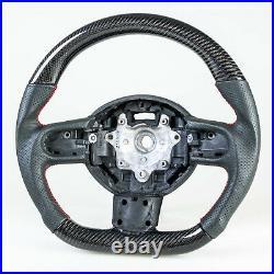 Flat Bottom Carbon Leather Steering Wheel For Mini R55 R56 R57 R58 R59 R60 R61