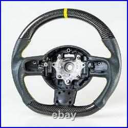Flat Bottom Carbon Leather Yellow Steering Wheel For Mini R55 R56 R57 R60 R61