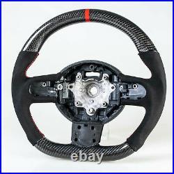 Flat Bottom Carbon Suede Red Steering Wheel For Mini R55 R56 R57 R58 R59 R60 R61