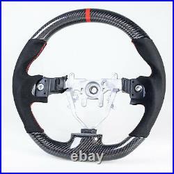 Flat Bottom Carbon Suede Red Steering Wheel For Subaru Impreza WRX / STI 08-14