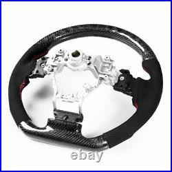 Flat Steering Wheel Carbon Genuine Suede For Subaru Impreza Forester Legacy