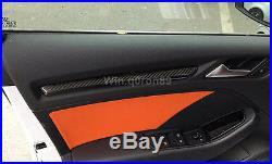 For Audi A3 8V 2013 2016 Carbon Fiber Interior Door Decorative Strip Trim 4pcs