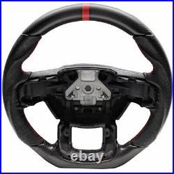Handkraftd 2015+ Ford F150 Steering Wheel Real Matte Carbon Fiber/Leather/Red