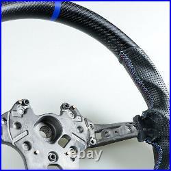 Matte Carbon Fiber Leather Blue Steering Wheel For BMW F80 M3 F82 M4 F87 M2