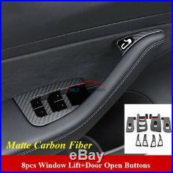 Matte Carbon For Tesla Model 3 Interior Window Lift Door Open Control Cover Trim