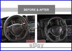 Matte Dry Carbon Fiber Steering Wheel Center Trim Cover For 09-16 Nissan Gtr R35