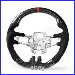 Steering Wheel Carbon Fiber Genuine Suede For Ford Mustang EcoBoost 5.0GT 15-17