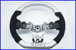 White Carbon Fiber D-Shape Alcantara Steering Wheel for 15-20 SUBARU WRX STI